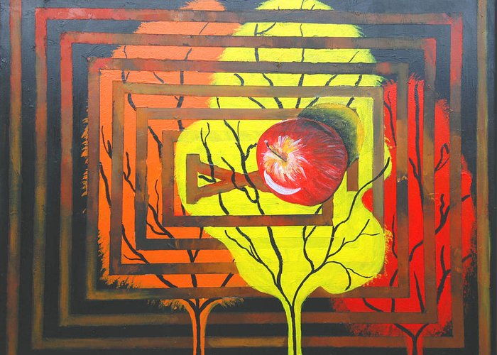 Abstract Greeting Card featuring the painting Apple by Olga Alexeeva