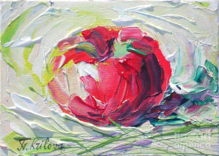 Tatjana Krilova Greeting Card featuring the painting Apple On The Snow by Tatjana Krilova