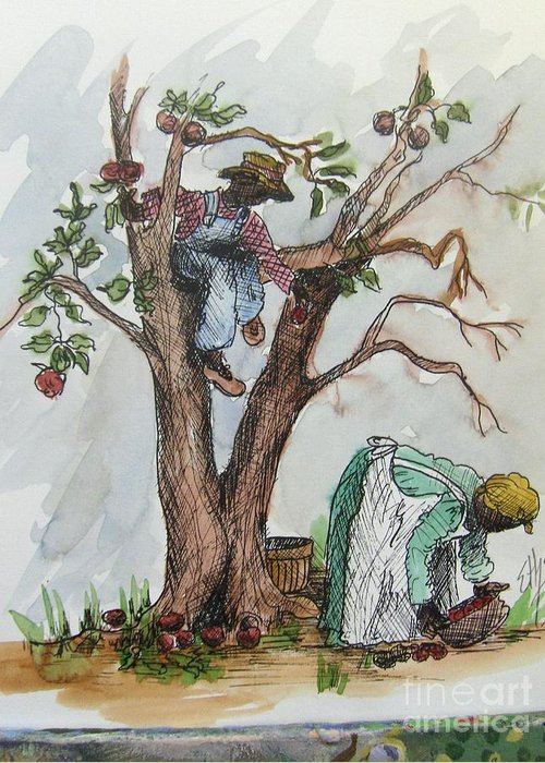 African American Art Greeting Card featuring the painting Apple Pickers by Ethel Dixon