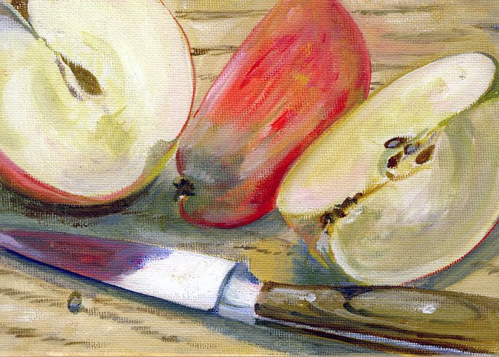 Still-life Greeting Card featuring the painting Apple by Sarah Lynch