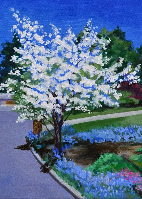 Apple Tree Greeting Card featuring the painting Apple Tree in Spring by Mary Chant