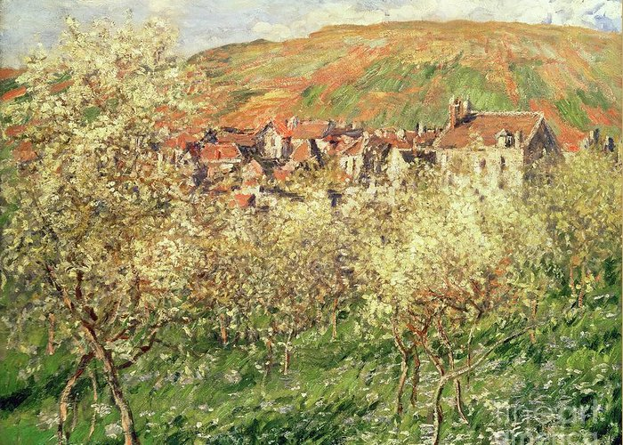 Monet Greeting Card featuring the painting Apple Trees In Blossom by Claude Monet