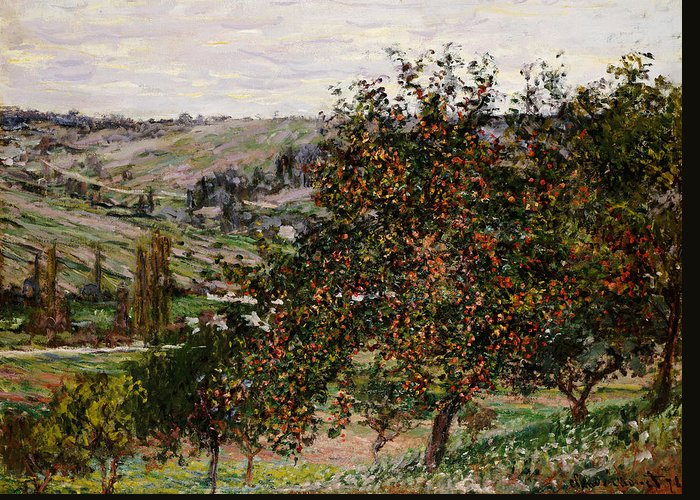 French Greeting Card featuring the painting Apple Trees Near Vetheuil by Claude Monet