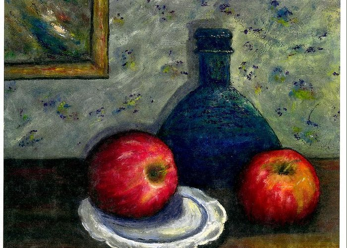 Still Life Greeting Card featuring the painting Apples And Bottles by Gail Kirtz