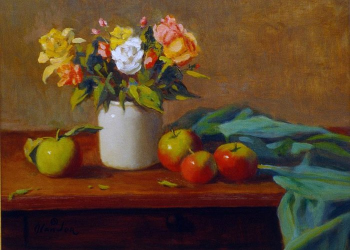 Still Life Alla Prima Greeting Card featuring the painting Apples And Flowers by David Olander