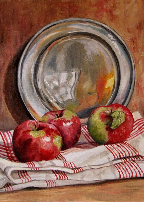 Apples Greeting Card featuring the painting Apples And Pewter by Cheryl Pass