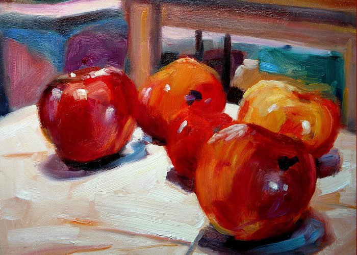 Still Life Paintings Greeting Card featuring the painting Apples by Brian Simons