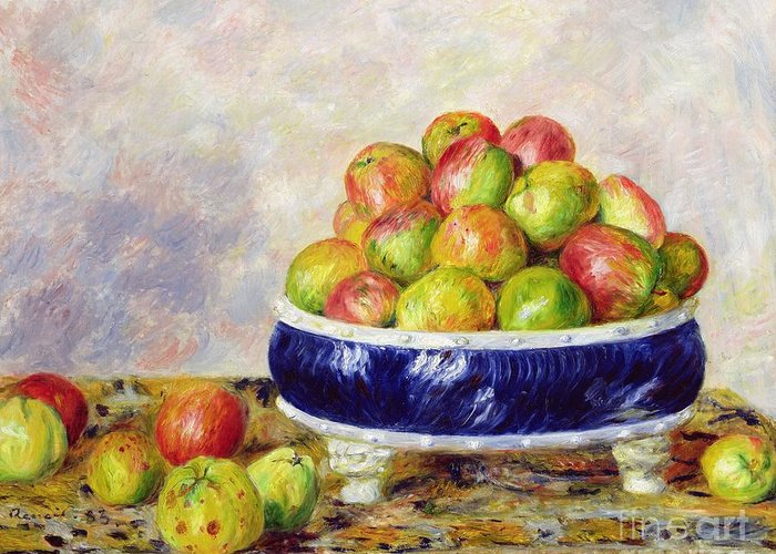 Pierre Auguste Renoir Greeting Card featuring the painting Apples In A Dish by Pierre Auguste Renoir