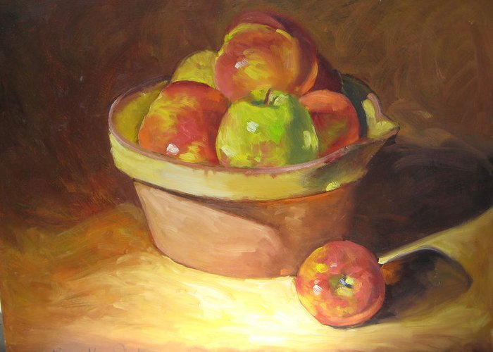 Stilllife Greeting Card featuring the painting Apples In A French Bowl. by Susan Jenkins