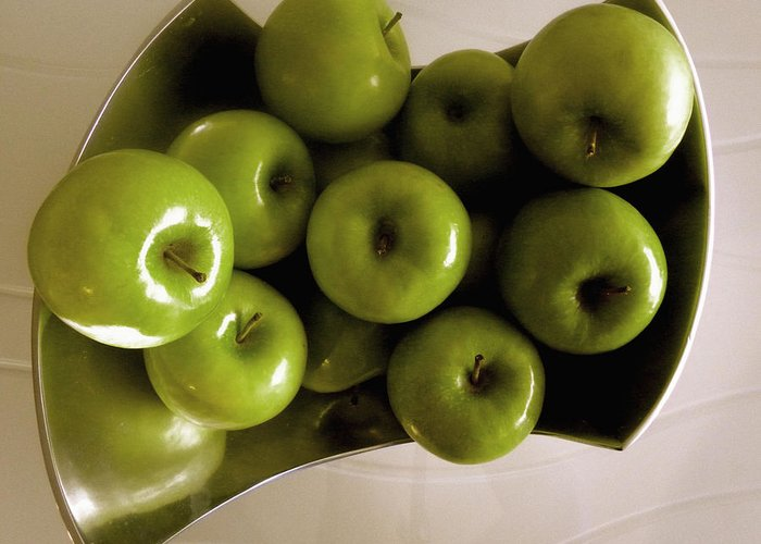 Green Greeting Card featuring the photograph Apples In A Silver Vase 2 by Fanny Diaz