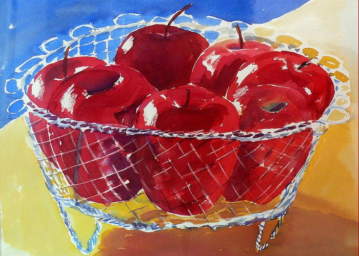 Apples Greeting Card featuring the painting Apples In Wirebasket by Doranne Alden