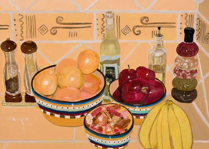 Still Life Greeting Card featuring the painting Apples Oranges And Bananas by Arvin Nealy