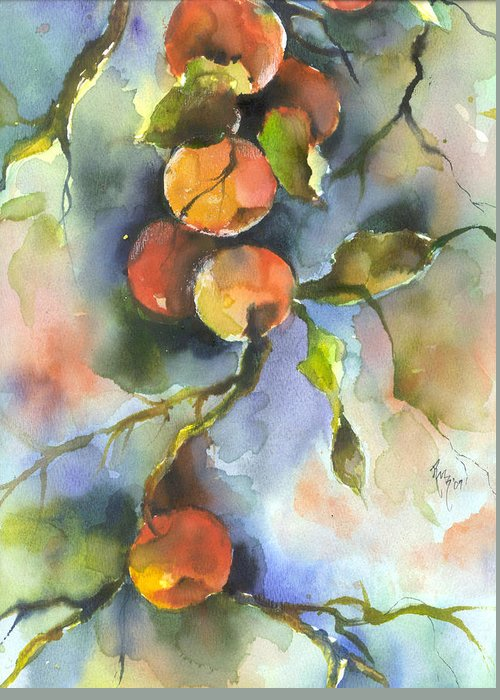 Apples Greeting Card featuring the painting Apples by Robin Miller-Bookhout