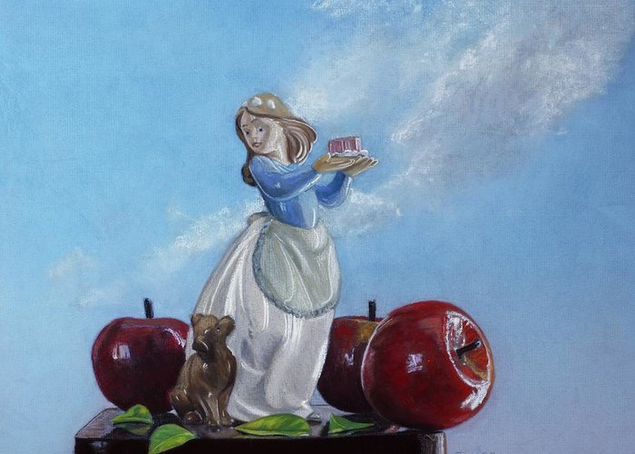 Apples With Figurine Greeting Card featuring the painting Apples With Figurine by Robert Tracy