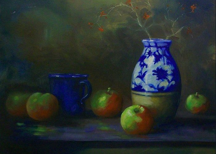 Vase Greeting Card featuring the painting Apples With Vase by Tom Forgione