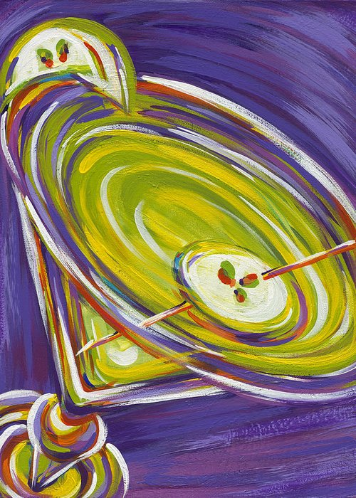 Appletini Greeting Card featuring the painting Appletini by Nanette Vacher