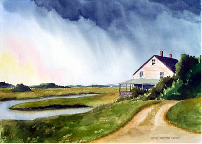 Landscape Greeting Card featuring the painting Approaching Storm by Anne Trotter Hodge