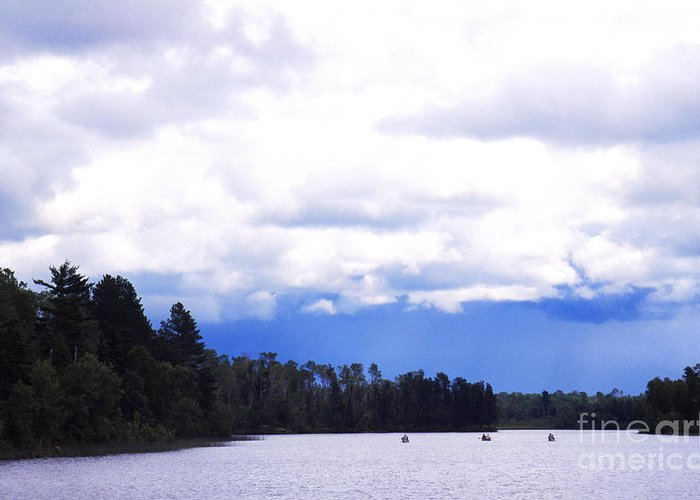 Three Canoes Greeting Card featuring the photograph Approaching Storm by Thomas R Fletcher
