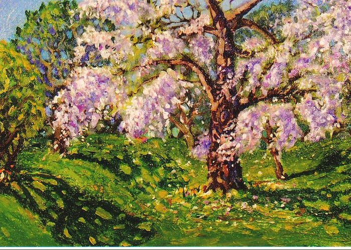 Scenic Greeting Card featuring the painting April Dream by Jonathan Carter