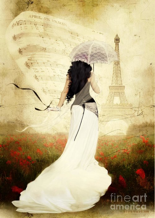 April Greeting Card featuring the digital art April In Paris by Shanina Conway
