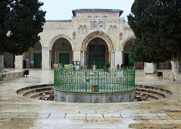 Al Aqsa Court Greeting Card featuring the photograph Aqsa Main Arches by Munir Alawi