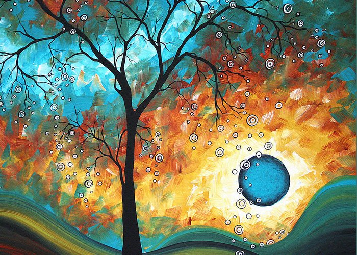 Art Greeting Card featuring the painting Aqua Burn By Madart by Megan Duncanson