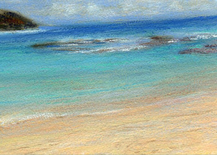 Coastal Decor Greeting Card featuring the painting Aqua Moloa'a by Kenneth Grzesik