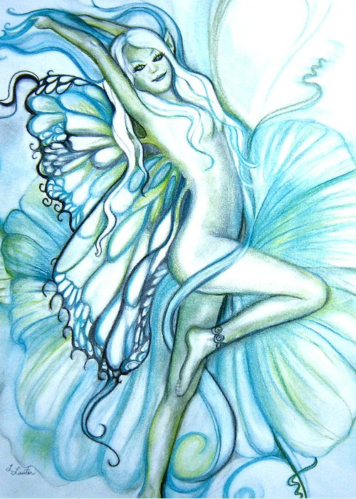 Dancing Fairy Greeting Card featuring the drawing Aquafairie by L Lauter