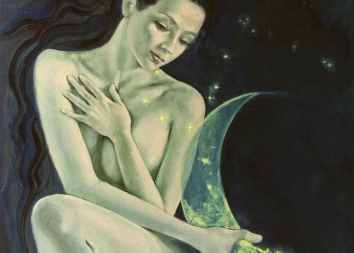 Art Greeting Card featuring the painting Aquarius From Zodiac Signs Series by Dorina Costras
