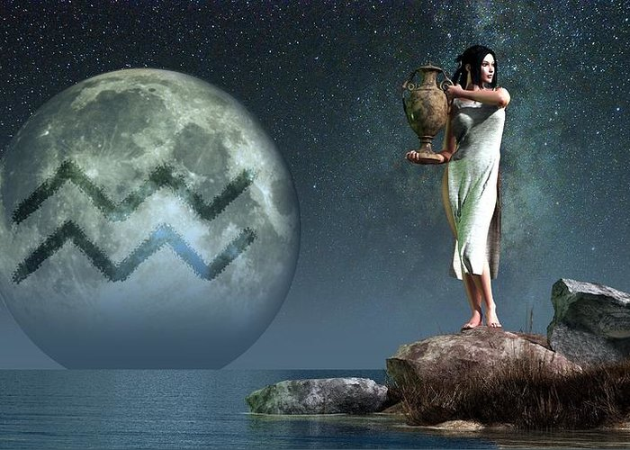 Aquarius Greeting Card featuring the digital art Aquarius Zodiac Symbol by Daniel Eskridge