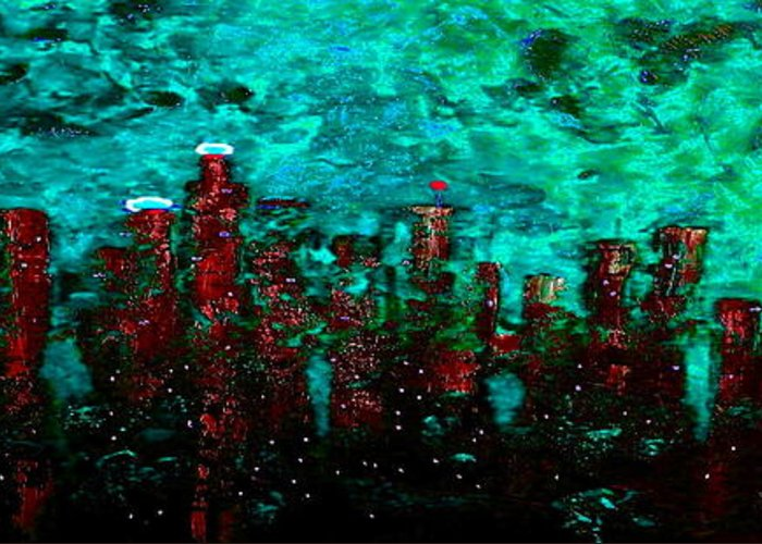 Cityscapes Greeting Card featuring the painting Aquatic Angel by Chris Haugen