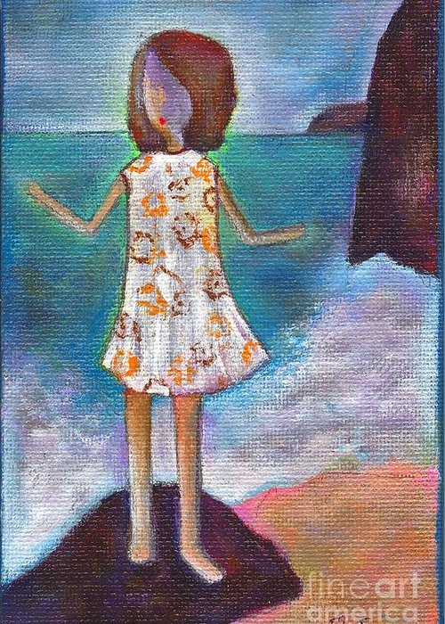 Girl Greeting Card featuring the painting Aqui Estoy by Ricky Sencion
