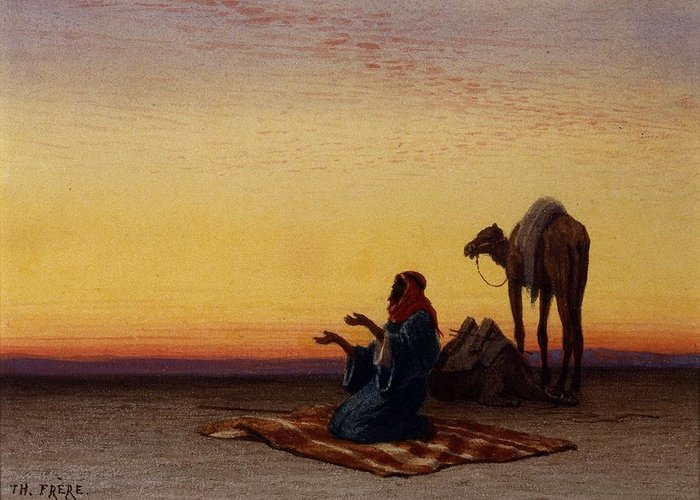 Charles Théodore Frère (french Greeting Card featuring the digital art Arab At Prayer by Mark Carlson