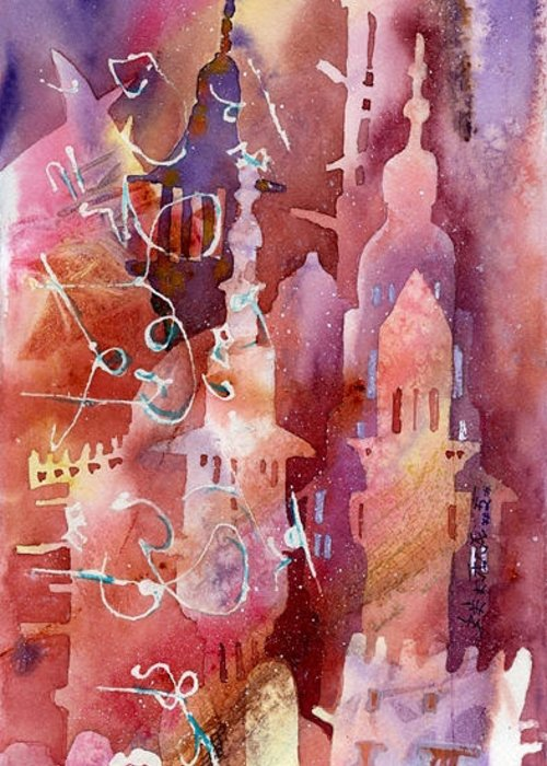 Architecture Greeting Card featuring the painting Arabesque Architecture by Beena Samuel