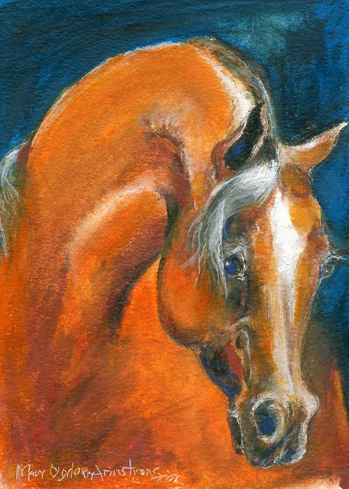 Arabian Greeting Card featuring the painting Arabian 1 by Mary Armstrong