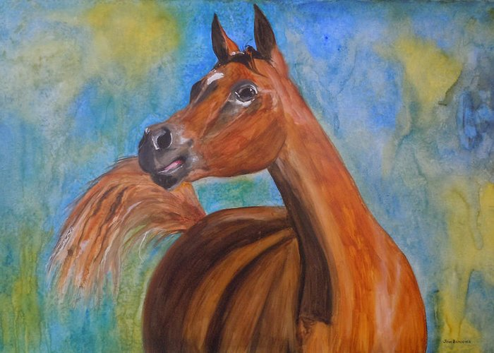 Horse Greeting Card featuring the painting Arabian Beauty by Jean Blackmer