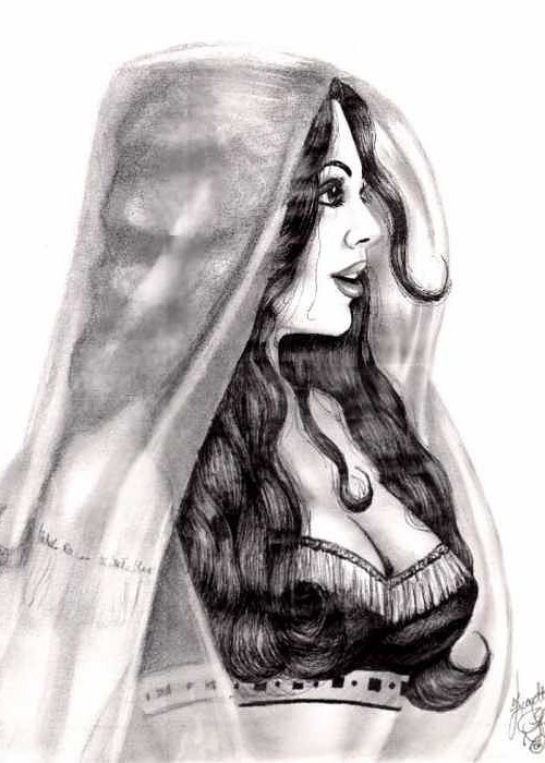 Figure Greeting Card featuring the drawing Arabian Beauty by Scarlett Royal