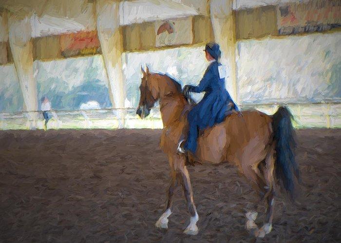 Arabian Dressage # Arabian # Horse Show # Van Gogh Style # Impressionism # Equestrian # Horse Show # Dressage # Florida Equestrian Show # Florida # Dressage Top Hat Greeting Card featuring the photograph Arabian Dressage by Louis Ferreira