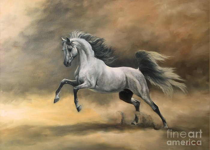 Horse Greeting Card featuring the painting Arabian by Jeanne Newton Schoborg