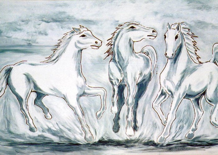 Horses Greeting Card featuring the painting Arabian Roots by Marco Morales
