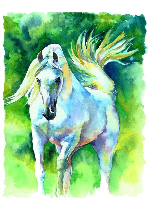 Arabian Horse Greeting Card featuring the painting Arabian Stallion by Christy Freeman