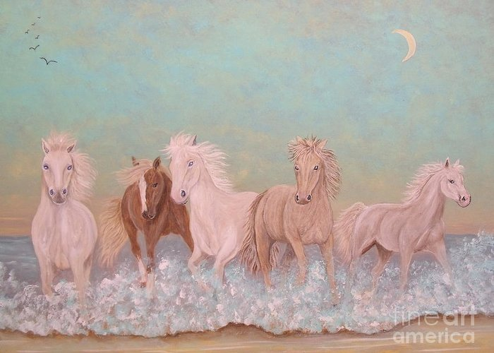 Equine Greeting Card featuring the painting Arabian Surf Dancers by Patti Lennox