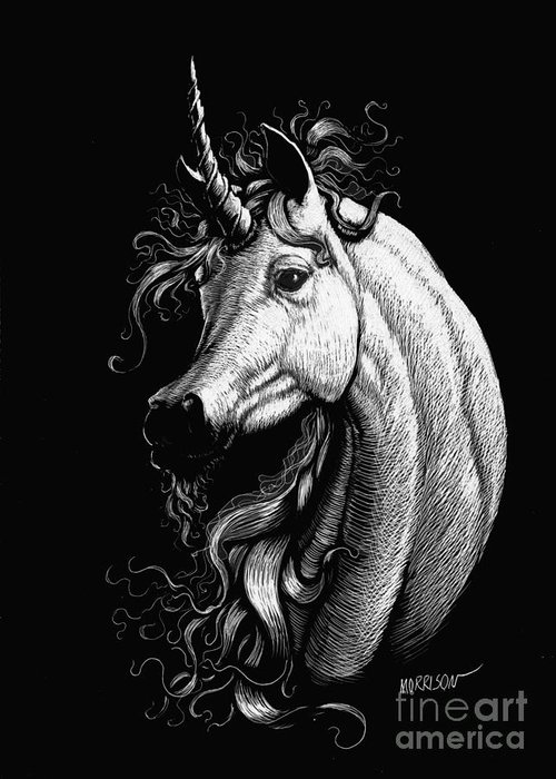 Fantasy Greeting Card featuring the drawing Arabian Unicorn by Stanley Morrison