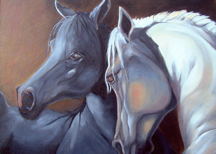 Equestrian Art Greeting Card featuring the painting Arabique by Enzie Shahmiri