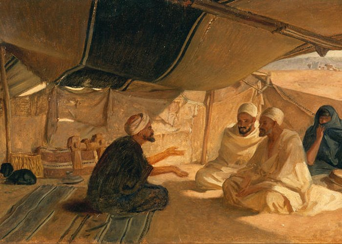 Arabs Greeting Card featuring the painting Arabs In The Desert by Frederick Goodall