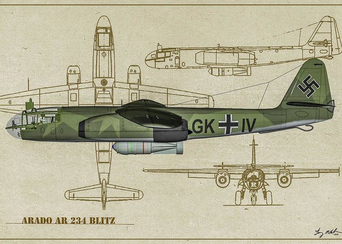 Bomber Greeting Card featuring the digital art Arado Ar234b-2 - Profile Art by Tommy Anderson