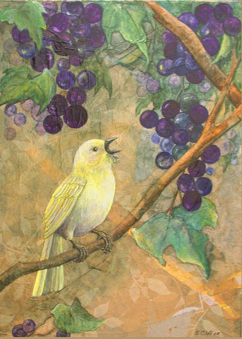 Bird Greeting Card featuring the painting Arbor Song by Sandy Clift