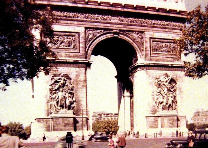 1955 Greeting Card featuring the photograph Arc De Triomphe 1955 by Will Borden
