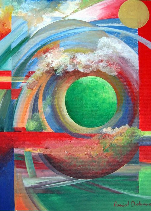 Abstract Greeting Card featuring the painting Arc by Muriel Dolemieux