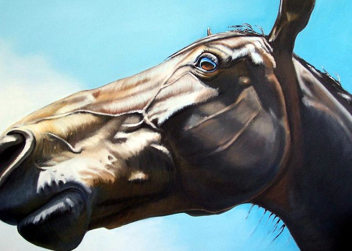Horse Greeting Card featuring the painting Arc by Steve Messenger